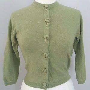 Vintage 50s Green Cashmere Ballantyne Cardigan M